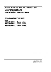User manual and Installation instructions