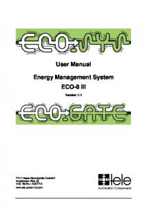 User Manual. Energy Management System ECO-8 III