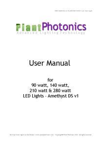 User Manual. for 90 watt, 140 watt, 210 watt & 280 watt LED Lights - Amethyst DS v1