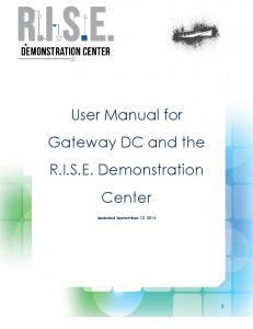 User Manual for Gateway DC and the R.I.S.E. Demonstration Center