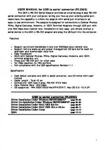 USER MANUAL for USB to serial converter (PL2303)