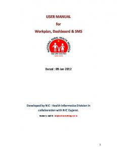 USER MANUAL for Workplan, Dashboard & SMS