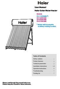 User Manual Haier Solar Water Heater