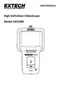 USER MANUAL. High Definition VideoScope Model HDV500