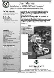 User Manual. installation of SOTRALENTZ and Plastepur (household wastewater decontamination)