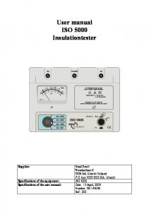 User manual ISO 5000 Insulationtester