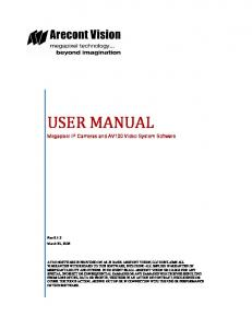 USER MANUAL. Megapixel IP Cameras and AV100 Video System Software