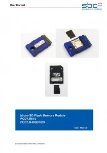 User Manual. Micro-SD Flash Memory Module PCD7.R610 PCD7.R-MSD1024. User Manual. Document ; Edition EN