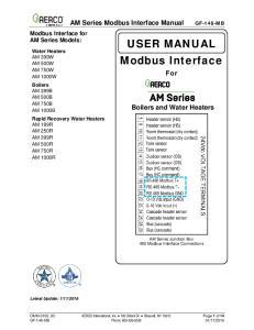 USER MANUAL Modbus Interface