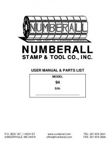 USER MANUAL & PARTS LIST MODEL