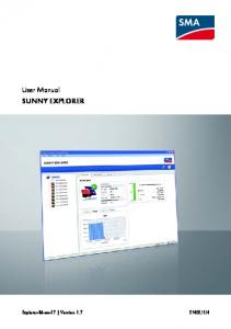User Manual SUNNY EXPLORER
