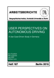 USER PERSPECTIVES ON AUTONOMOUS DRIVING