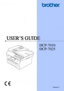 USER S GUIDE DCP-7010 DCP Version C