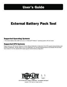 User s Guide. External Battery Pack Tool