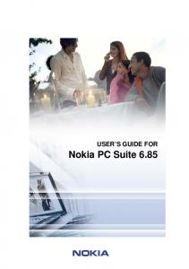 USER S GUIDE FOR. Nokia PC Suite 6.85
