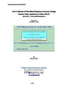User s Manual of Web-Based Roadway Geometry Design