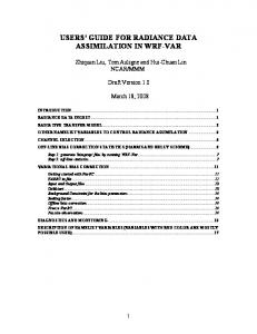 USERS GUIDE FOR RADIANCE DATA ASSIMILATION IN WRF-VAR