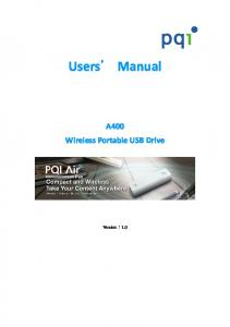 Users Manual. A400 Wireless Portable USB Drive. Version:1.0
