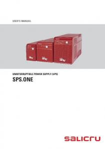 USER'S MANUAL UNINTERRUPTIBLE POWER SUPPLY (UPS) SPS.ONE