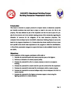 USFA Abandoned Building Project Building Evaluation Presentation Outline