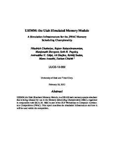 USIMM: the Utah SImulated Memory Module