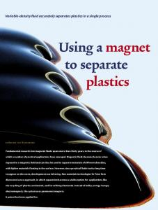 Using a magnet to separate plastics