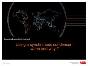 Using a synchronous condenser - when and why?