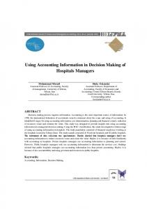 Using Accounting Information in Decision Making of Hospitals Managers