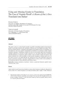 Using and Abusing Gender in Translation. The Case of Virginia Woolf s A Room of One s Own Translated into Italian 1