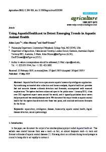 Using AquaticHealth.net to Detect Emerging Trends in Aquatic Animal Health