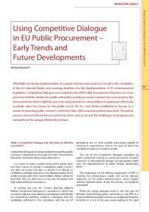 Using Competitive Dialogue in EU Public Procurement