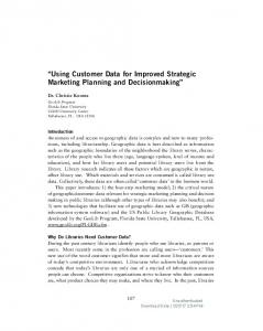 Using Customer Data for Improved Strategic Marketing Planning and Decisionmaking