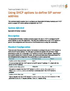 Using DHCP options to define SIP server address