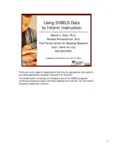 Using DIBELS Data to Inform Instruction