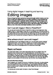 Using digital images in teaching and learning Editing images
