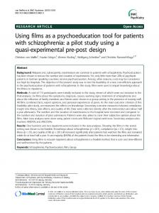 Using films as a psychoeducation tool for patients with schizophrenia: a pilot study using a quasi-experimental pre-post design