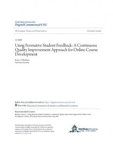 Using Formative Student Feedback: A Continuous Quality Improvement Approach for Online Course Development