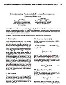 Using Generating Functions to Solve Linear Inhomogeneous Recurrence Equations
