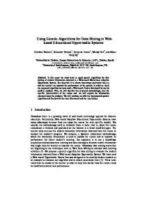 Using Genetic Algorithms for Data Mining in Webbased Educational Hypermedia Systems