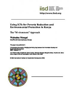 Using ICTs for Poverty Reduction and Environmental Protection in Kenya