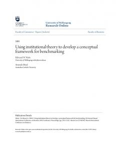 Using institutional theory to develop a conceptual framework for benchmarking