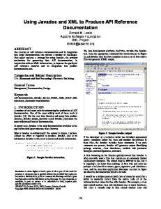 Using Javadoc and XML to Produce API Reference Documentation