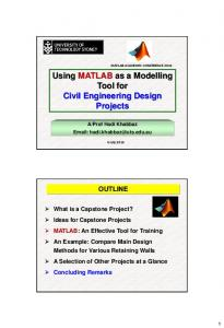 Using MATLAB as a Modelling Tool for Civil Engineering Design Projects