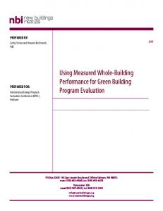 Using Measured Whole-Building Performance for Green Building Program Evaluation