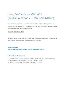 Using MeCab from MATLAB R (in 64bit windows 7 + MATLAB R2014b)