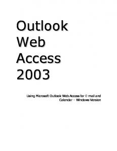 Using Microsoft Outlook Web Access for  and Calendar Windows Version