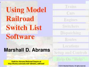 Using Model Railroad Switch List Software