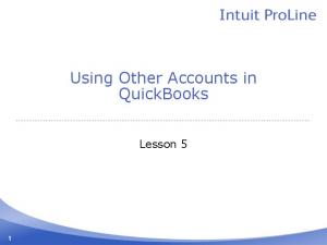 Using Other Accounts in QuickBooks. Lesson 5
