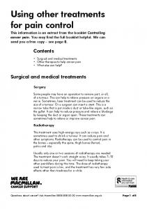 Using other treatments for pain control