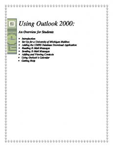 Using Outlook 2000: An Overview for Students